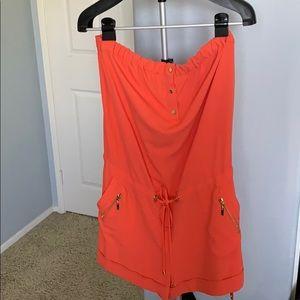 Cache Orange with Gold details strapless jumpsuit